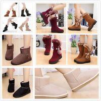 Women Scrub Suede Fur Snow Boots Non-slip Thicken Shoes Winter Warm Flats New