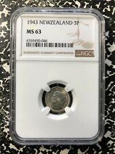 1943 New Zealand 3 Pence Threepence NGC MS63 Lot#PJ460 Silver! Choice UNC!