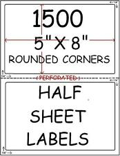 1500 HALF SHEET LABELS FOR PAYPAL SHIPPING ROUND CORNER