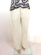 ESPRIT Womens Striped White Cream Wide Leg Casual Linen Trousers Pants sz 12 B25