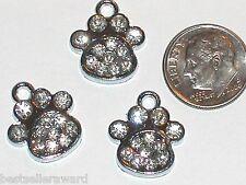 2pc Little Crystal Dog Paw Print Pendants Pet Collar charms Dog Cat Tag 18x16mm
