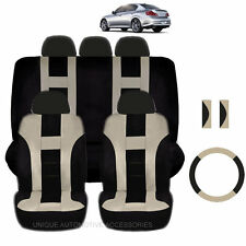 NEW BEIGE & BLACK POLYESTER SEAT COVERS & STEERING COMBO 12PC SET FOR CARS 2323