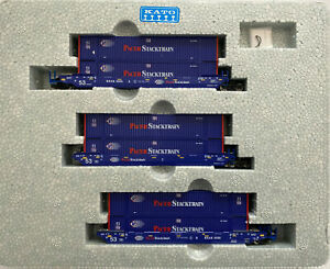 KATO N Scale 1066179 BRAN6020 MAXI-IV Well 3 Car Set 6 Pacer Containers 106-6179