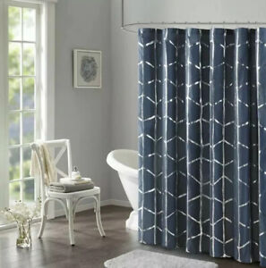"Intelligent Design Raina Printed Metallic Shower Curtain 72"" x 72"" Navy/Silver"
