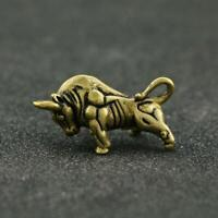 Antique Brass Bull Statue Small Pendant Chinese Zodiac Pocket Gift Collectible