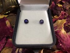 True indigo natural Iolite 5mm cabochon sterling silver stud earrings 💦