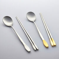 2 SET Korean Premium Luxury Spoons Chopsticks Stainless Steel Chop Goldenbell