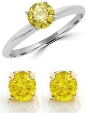 RING&EARRINGS SAPPHIRE CANARY YELLOW 6.00 mm SILVER HARDNESS 9 DIAMOND-SPARKLING