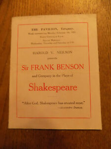Sir Frank Benson & Co. in the Plays of Shakespeare, The Pavilion, Torquay 1921