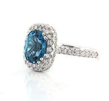 5.27 CT Natural Blue Topaz & Diamond Lady's Ring VS2/F 14K White Gold.