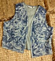 EUC Women's Chico's Thirty Unforgettable Years Embroidered Vest Size 3 BLUE