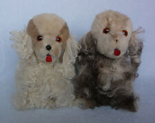Vintage Genuine Long Curly Mohair Cocker Spaniel Dogs, Set of 2 Stuffed Animals