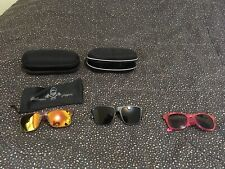 Sunglasses Lot With Cases Distressed Brown Black Dark Pink Unisex Cases