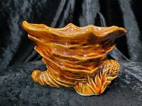 Vintage Pottery Cornucopia Horn Of Plenty Small Table Planter 3x5x3 Ceramic Clay