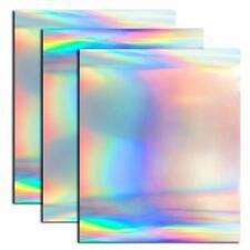 "3x Holographic Heat Transfer Foil Vinyl HTV for T-Shirt 12"" X 10"" Silver Rainbow"