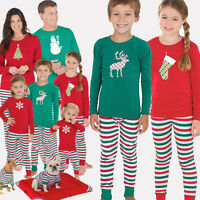 Christmas Family Matching Pajamas Set Deer Adult Women Kids Sleepwear Nightwear