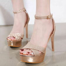 Womens Ankle Strap High Heels Sexy Stilettos Sequins Slingback Platform Shoes