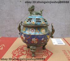 """9"""" Chinese Bronze Cloisonne Enamel Foo Dog Lion Palace Incense Burner Censer"""