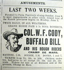 1905 NY Herald PARIS France newspaper BUFFALO BILL WILD WEST SHOW Illustrated Ad