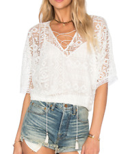 ANTHROPOLOGIE CYNTHIA VINCENT WHITE GEO LACE LINED BLOUSON TOP Sz S