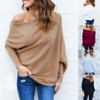 Women Off Shoulder Long Sleeve Pullover Sweater Loose Batwing Jumper Tops Sweats