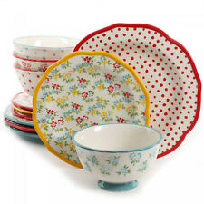 12-Piece Timeless Floral/Retro Dot Dinnerware Set Vintage Dishes Collection
