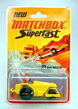 Matchbox SF Nr. 21B Rod Roller gelb schwarze Bodenplatte top im Blister
