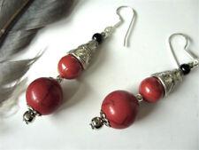 Rote Türkis Kugel Ohrringe Ohrhänger Earrings m.rote Koralle & Achat 925 Silber