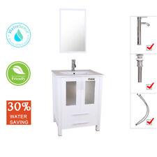 "24"" Bathroom Vanity White Drop in Rectangle Ceramic Sink Mirror Faucet Drain Set"