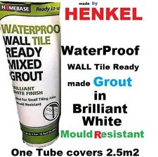 Wall Tile Grout Tubes - Brilliant White Waterproof Mould Bathroom Kitchen 2.5m2