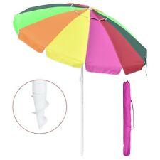 New listing 7ft Rainbow Beach Umbrella Sunshade with Tilt Sand Anchor Uv Protection Outdoor
