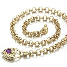 18K Yellow Gold GL Women's Solid Med Belcher Necklace & Amethyst Heart 45cm