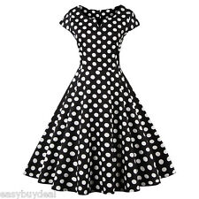 Plus Size Women Black White Rockabilly Polka Dot Dress 50's 60's Big Swing Dress