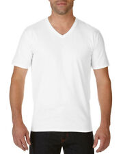 Gildan Premium Men's Cotton V Neck Casual T Shirt L White
