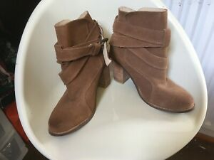 PAIR OF LADIES BROWN SUEDE HEELED STRAPPY BOOTS BRAND NEW