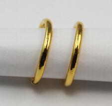 New 24K Solid Yellow Gold Simple Hoop Earrings 2.7 Grams