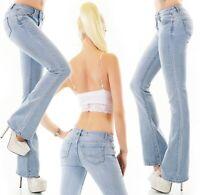 Damen Bootcut Jeans Hose Schlaghose Denim blue bleached Stretch S M L XL