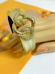 Designer ALEXIS BITTAR Light Gold Lucite Clear Rhinestone Hinged Bangle Bracelet