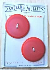 2 Vintage Coat Buttons Red 1 1/4 Inch NOS Discount Offered