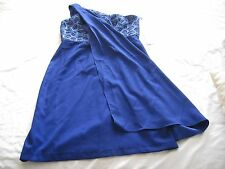 Patra Women's Metallic Lace One Shoulder Dress Sapphire Size 10 New with Tags