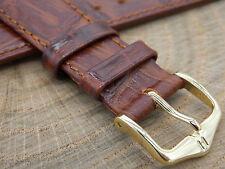 Hirsch Duke Brown Croco Grain Mens Vintage 20mm Watch Band Water Resistant NOS