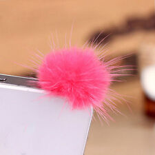 Fashion Rabbit Fur Ball Earphone Anti Dust Plug Cover 3.5mm For Cell Phone Hot