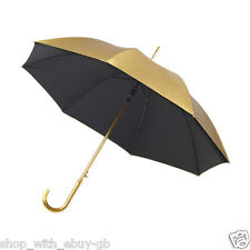 Classic Metallic Shiny Gold Automatic Umbrella with Crook Handle Wedding Brolly