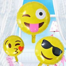 """2Pcs 18"""" Emoji  Balloons Yellow Smiley Faces Emotions Birthday Party Supplies"""