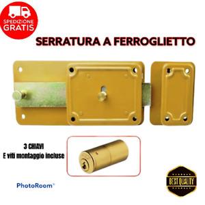 Serratura a Ferroglietto Garage Portoncino 3chiavi Scrocco cilindro 2,5 cm UNITO