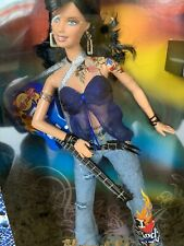 Nib Barbie Hard Rock Cafe Flames Guitar Buster Jeans W/Collector Pin