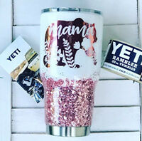 Mama Bear 30 Ounce Glitter Yeti Rambler White Flash Diamond & Chunky Rose Gold