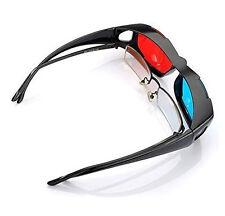 Red Blue 3D Glasses For Dimensional Anaglyph Movie DVD Game Black Frame