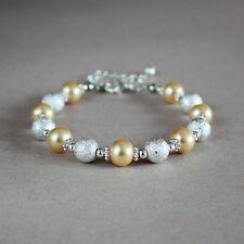Silver stardust yellow pearl beaded bracelet wedding bridesmaid bridal accessory