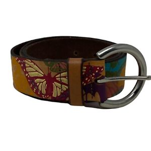 FOSSIL Belt Leather Colorful Embossed Butterflies Size Large
